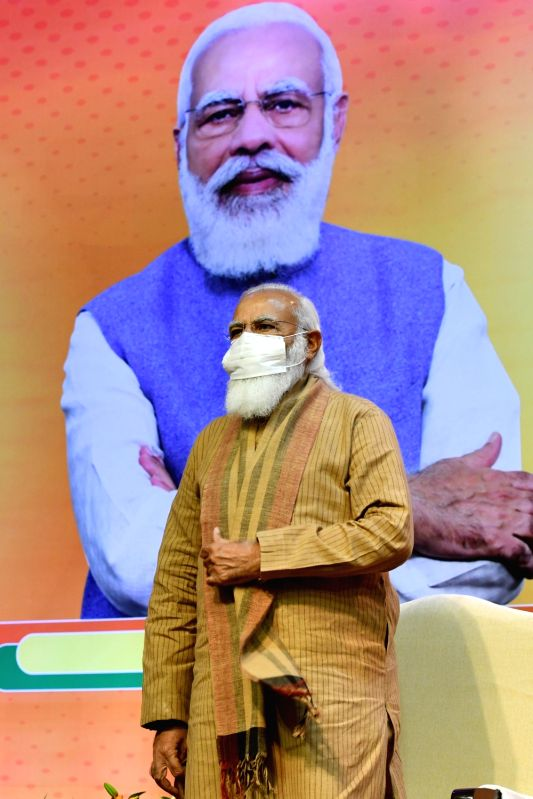 New Delhi: Prime Minister Narendra Modi inaugurates a meeting of the BJP national office bearers at the NDMC convention centre in New Delhi on Sunday 21st February 2021. (Photo: Partha Prathim Sarkar/IANS)