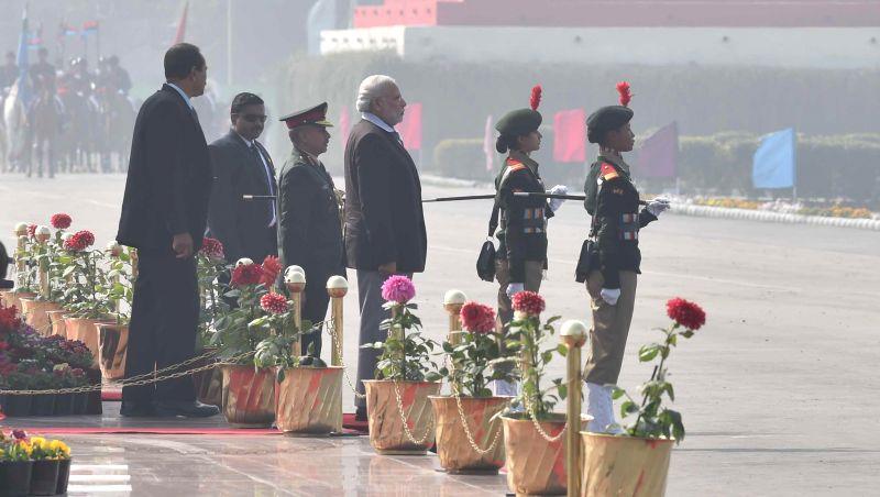 Prime Minister Narendra Modi inspecting the Guard of Honour at NCC rally in New Delhi on Jan. 28, 2015. - Narendra Modi