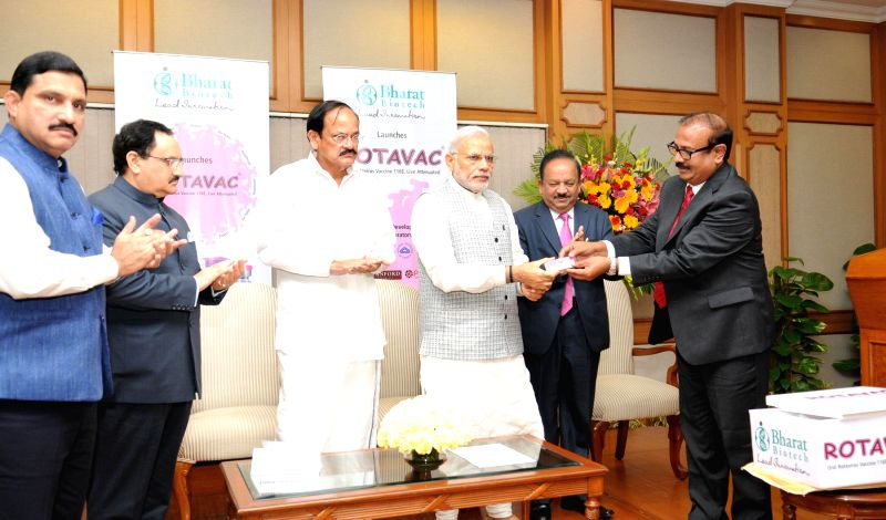 Prime Minister Narendra Modi launches the first indigenously developed and manufactured vaccine against Rotavirus, in New Delhi on March 9, 2015. Also seen Union Minister for Science & ... - Narendra Modi