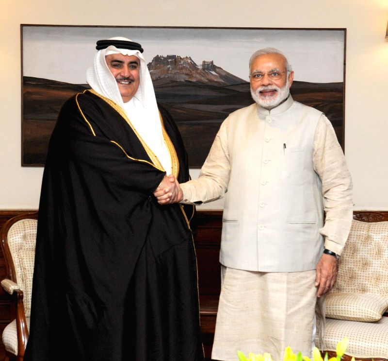 Prime Minister Narendra Modi meets the Foreign Minister of Bahrain Shaikh Khalid Bin Mohamed Al Khalifa in New Delhi on Feb 23, 2015. - Narendra Modi