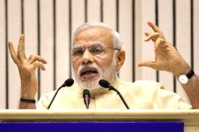 Prime Minister Narendra Modi speaking during the Joint Conference of Chief Ministers and Chief Justices of High Courts, in New Delh on April 05, 2015. - Narendra Modi