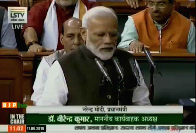 New Delhi: Prime Minister Narendra Modi takes oath as a member of 17th Lok Sabha at Parliament in New Delhi on June 17, 2019. (Photo: IANS/LSTV)