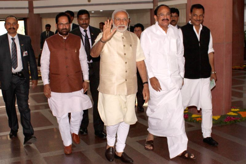Prime Minister Narendra Modi, Union Minister for Urban Development, Housing and Urban Poverty Alleviation and Parliamentary Affairs M Venkaiah Naidu, the Union Minister of State for ... - Narendra Modi and Venkaiah Naidu