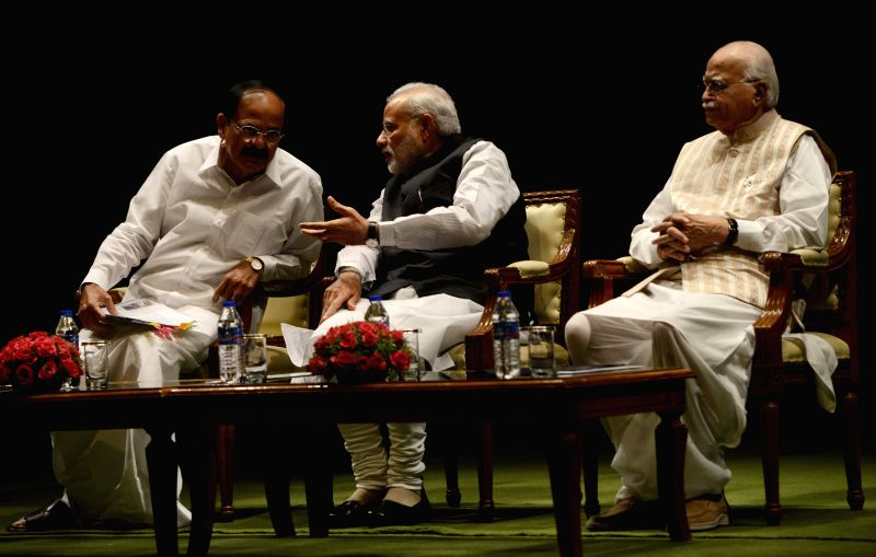 Prime Minister Narendra Modi, veteran BJP leader LK Advani and Union Minister for Urban Development, Housing and Urban Poverty Alleviation and Parliamentary Affairs M Venkaiah Naidu during ... - Narendra Modi and Venkaiah Naidu