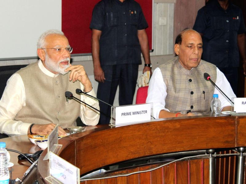 New Delhi: Prime Minister Narendra Modi with Defence Minister Rajnath Singh at the all party meeting, in New Delhi on June 19, 2019. The meeting was called by Prime Minister Narendra Modi to discuss his 'one nation, one election' proposal began here
