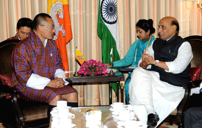Prime Minister of Bhutan Tshering Tobgay calls on Union Home Minister Rajnath Singh in New Delhi on Jan 15, 2015.
