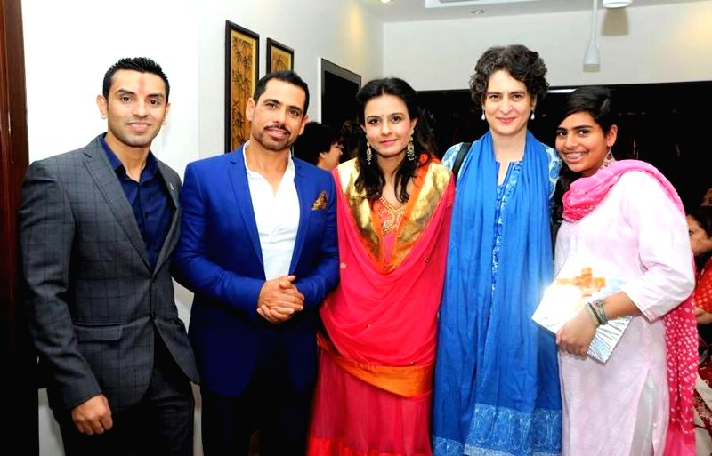 Priyanka Gandhi Vadra (daughter of Congress president Sonia Gandhi ), her husband and businessman Robert Vadra with his cousin sister Monika Vadra and her fiance Tehseen Poonawalla during ... - Priyanka Gandhi Vadra and Sonia Gandhi