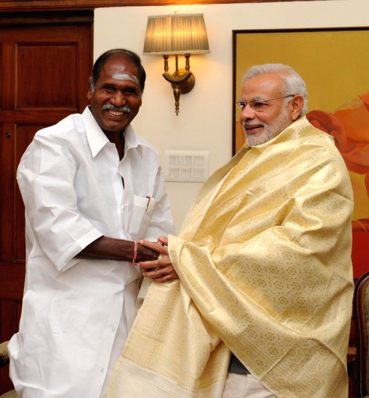 Puducherry Chief Minister N. Rangaswamy calls on the Prime Minister Narendra Modi, in New Delhi on March 16, 2015. - N. Rangaswamy and Narendra Modi