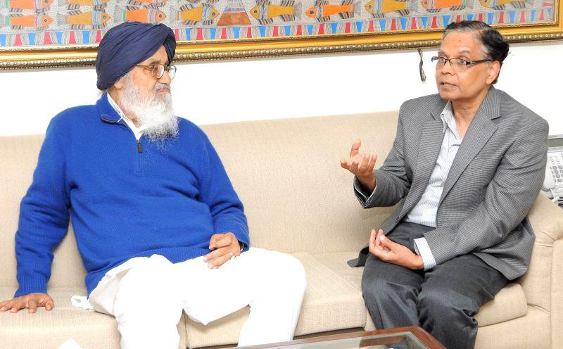 Punjab Chief Minister Parkash Singh Badal during a meeting with the Vice-Chairman of NITI Aayog Arvind Panagariya in New Delhi, on Feb 20, 2015. - Parkash Singh Badal