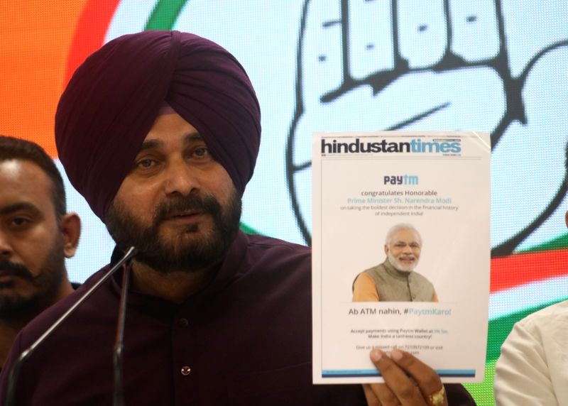 Punjab Minister and Congress leader Navjot Singh Sidhu addresses a press conference in New Delhi