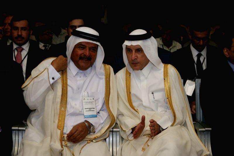 Qatar Businessmen Association chairman Sheikh Faisal bin Qassim al-Thani at the Qatar-India Economic Forum in New Delhi, on March 25, 2015.