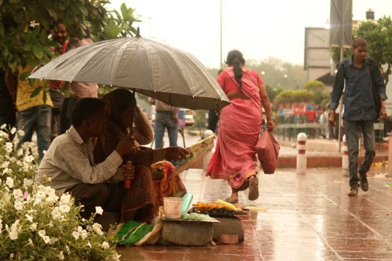 Rains lash New Delhi on April 13, 2015.