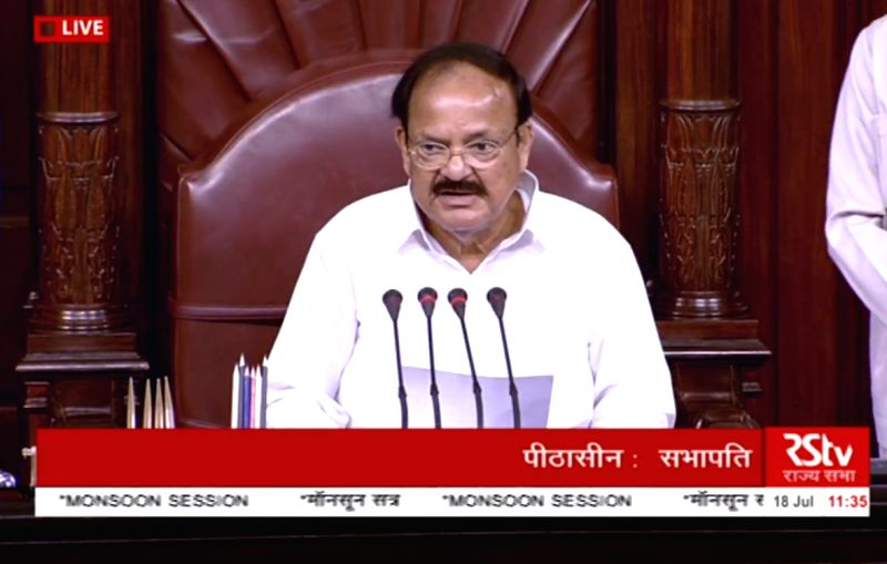 : New Delhi: Rajya Sabha Chairman M. Venkaiah Naidu during the monsoon session at Parliament House on July 18, 2018. (Photo TYV Grab/IANS).