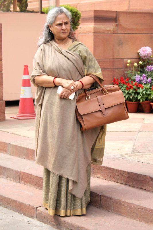 Rajya Sabha member and actress Jaya Bachchan at the Parliament in New Delhi, on March 13, 2015. - Jaya Bachchan