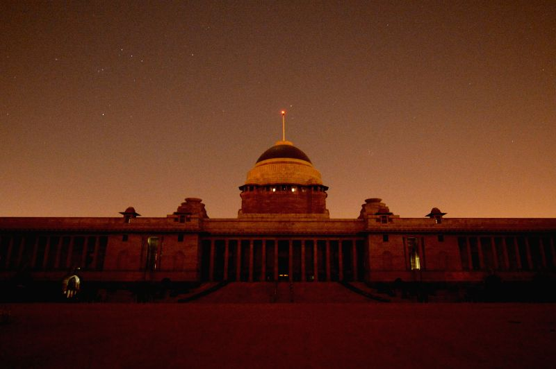 Rashtrapati Bhavan with lights off during the Earth Hour 2015.