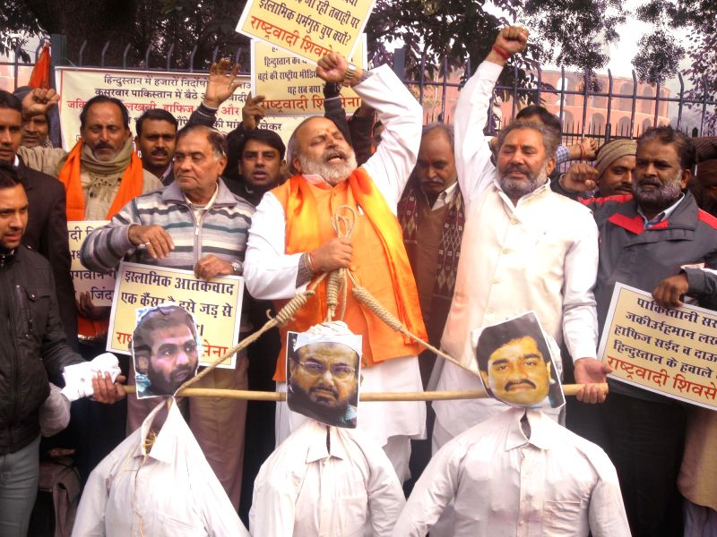 Rashtrawadi Shiv Sena president and BJP leader Jai Bhagwan Goyal during a demonstration to demand  immediate handover of the mastermind of 26/11 Mumbai terror attack Zaki-ur Rehman Lakhvi,