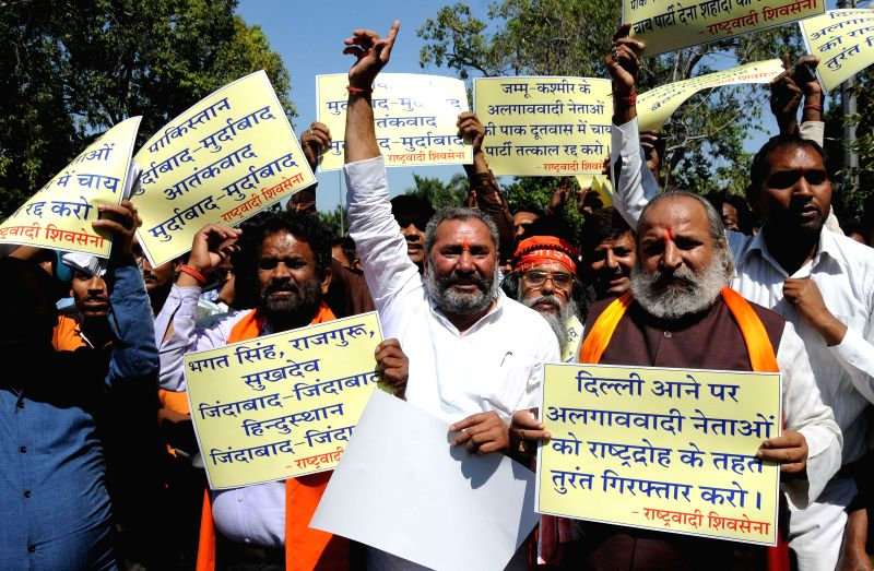 Rastrawadi Shiv Sena workers led by Jai Bhagwan Goyal stage a demonstration in front of the Pakistan High Commission  in New Delhi, on March 23, 2015.