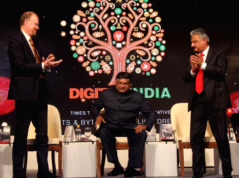 Ravi Shankar Prasad, Union Minister for Telecommunication and IT, Sanjay Kapoor,Chairman Micromax and Dr.Jerome Booth, Global Economist and Chairman, Newcal Telecom at Digital India ... - Sanjay Kapoor