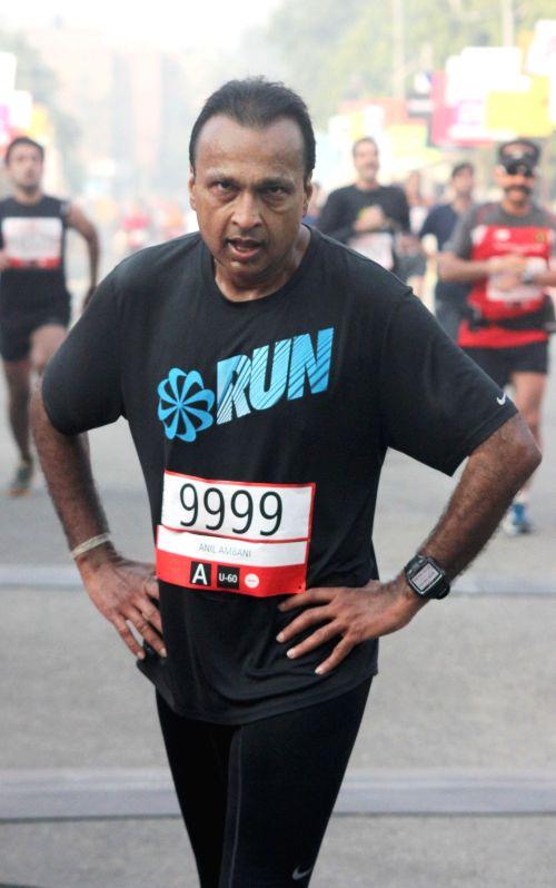 Reliance ADAG chairman Anil Ambani who participated in Airtel Delhi Half Marathon at Jawaharlal Nehru Stadium in New Delhi on Nov 23, 2014.