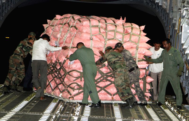 Relief material carried to Nepal being loaded on an Indian Air Force (IAF) aircraft, at Air Force Station Palam, New Delhi following a massive earthquake in Nepal.