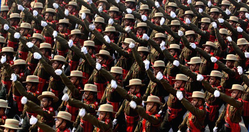 Republic Day rehearsals underway at Rajpath in New Delhi, on Jan 18, 2015.