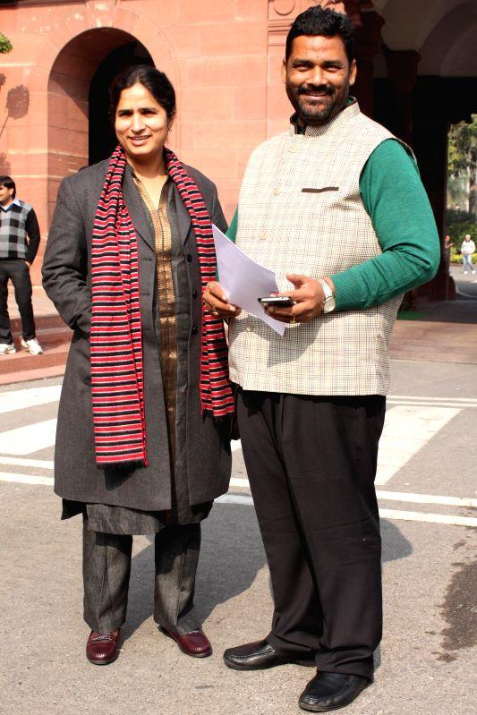 RJD MP from Madhepura Pappu Yadav and his wife Ranjeeta Ranjan who is Congress MP from Supoul at the Parliament premises in New Delhi, on Dec 16, 2014. - Madhepura Pappu Yadav