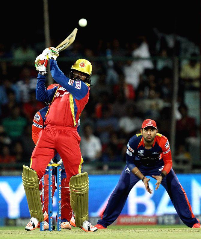Royal Challengers Bangalore batsman Chris Gayle in action during an IPL -2015 match between Delhi Daredevils and Royal Challengers Bangalore at Feroz Shah Kotla Stadium in New Delhi, on ... - Chris Gayle