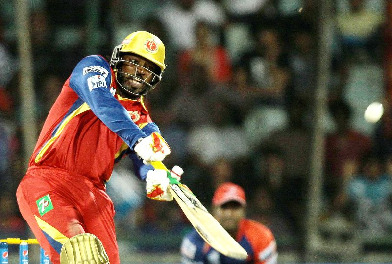 Royal Challengers Bangalore batsman Chris Gayle in action during an IPL -2015 match between Delhi Daredevils and Royal Challengers Bangalore at Feroz Shah Kotla Stadium in New Delhi, on ... - Chris Gayle