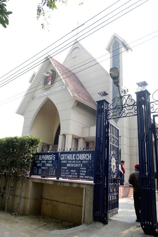 Sacred items and a DVD player were stolen and few items were destroyed from the cabinet of St. Alphonsa`s church at Vasant Kunj in New Delhi on Feb. 2, 2015.