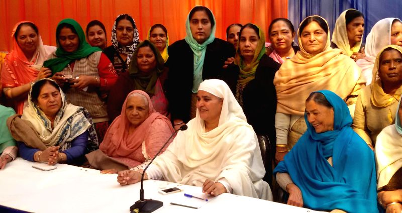 SAD leader Bibi Jagir Kaur during a meeting with women wing of Shiromani Akali Dal (SAD) at Shiromani Akali Dal office in New Delhi on Feb. 3, 2015.