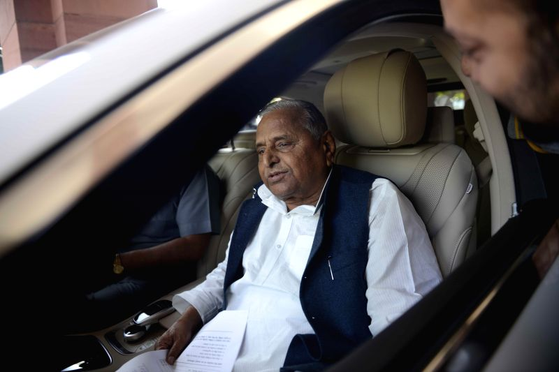 Samajwadi Party chief Mulayam Singh Yadav at the Parliament in New Delhi, on March 18, 2015. - Mulayam Singh Yadav