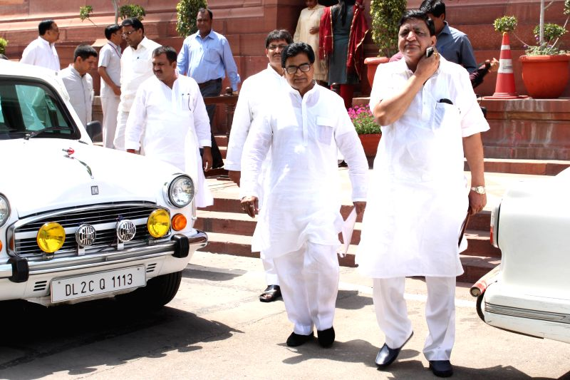Samajwadi Party MP Ram Gopal Yadav at the Parliament house in New Delhi, on April 23, 2015. - Gopal Yadav