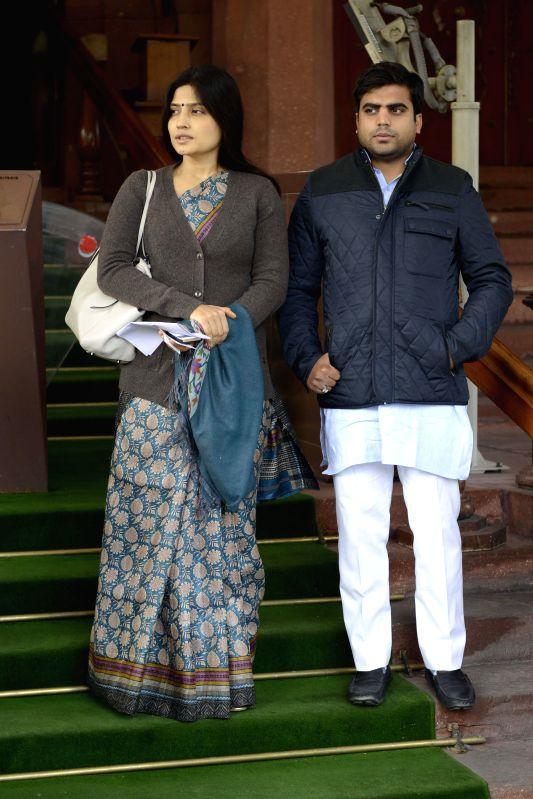 Samajwadi Party MPs from Kannauj Dimple Yadav and party MP from Mainpuri Tej Pratap Yadav at the Parliament premises in New Delhi, on Dec 18, 2014. - Kannauj Dimple Yadav