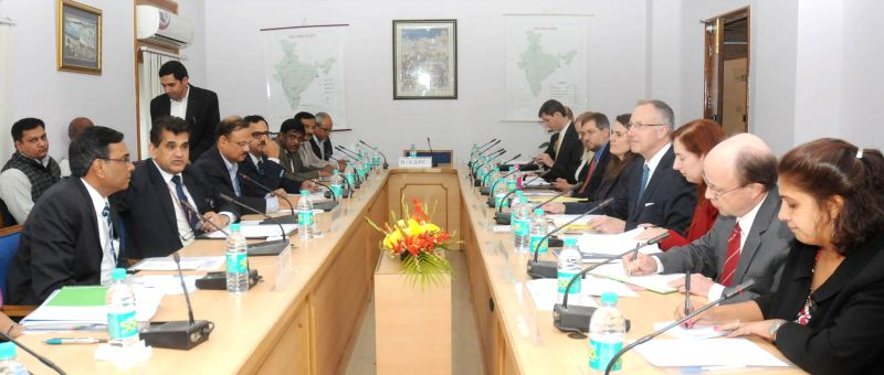 Secretary Department of Industrial Policy and Promotion Amitabh Kant and Deputy United States Trade Representative Robert Holleyman at the sub-group meeting on Investment in Manufacturing,