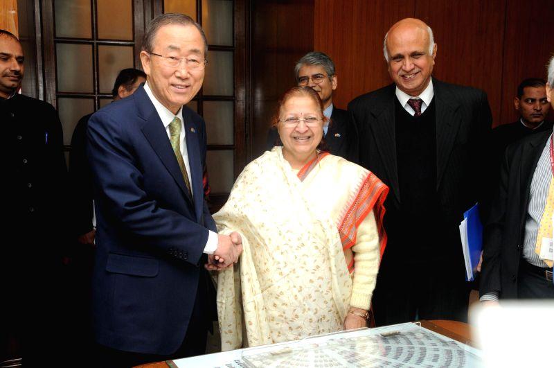 Secretary General of United Nations Ban Ki-Moon calls on Lok Sabha Speaker Sumitra Mahajan in New Delhi, on Jan 13, 2015. - Sumitra Mahajan