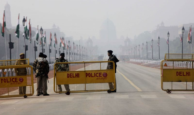 Security beefed-up near India Gate on the eve of Republic Day in New Delhi, on Jan 25, 2015.