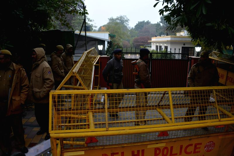 Security beefed-up outside Congress leader Shashi Tharoor's residence in New Delhi on Jan 11, 2015.
