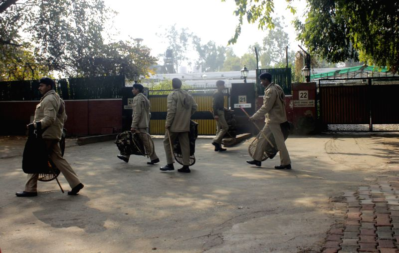 Security beefed-up outside Union Minister for Communications and Information Technology Ravi Shankar Prasad's residence at Chanakyapuri in New Delhi, on Jan 23, 2015.