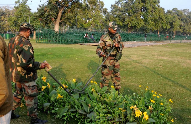 Security checks being carried out at Rajpath lawns ahead of Republic Day in New Delhi, on Jan 4, 2015.