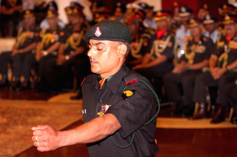 Shaurya Chakra winner Rifleman Manga Ram during the Defence Investiture Presentation Ceremony  at Rashtrapati Bhavan in New Delhi, on March 21, 2015.
