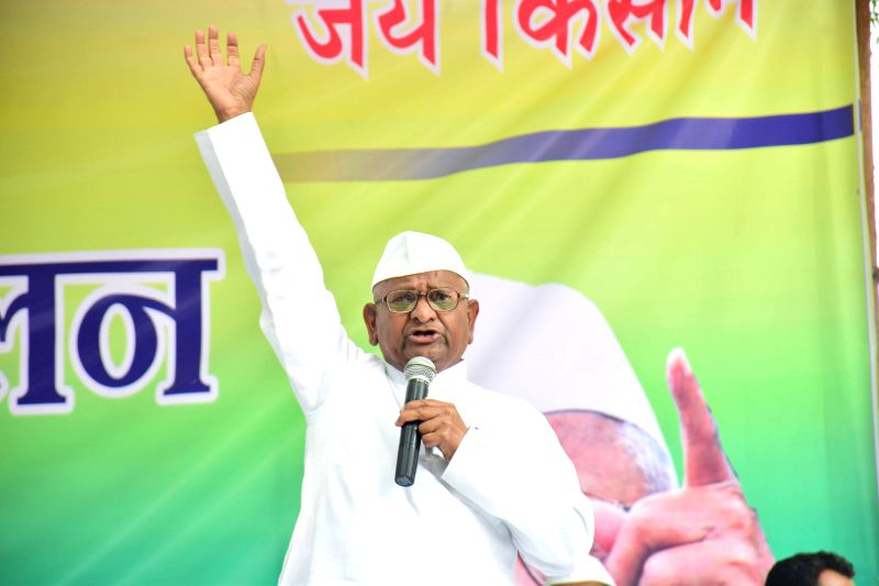 Social activist Anna Hazare addresses during a two-day long protest against the land ordinance passed by the NDA government at Jantar Mantar in New Delhi, on Feb 23, 2015.