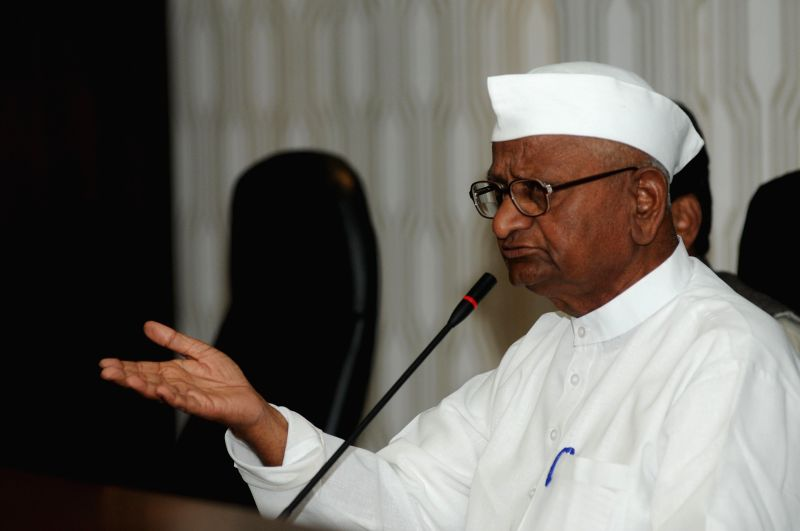 Social activist Anna Hazare addressing a press conference at Maharastra Sadan in New Delhi on Feb. 27, 2015.