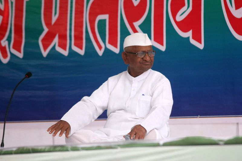 Social activist Anna Hazare during a two-day long protest against the land ordinance passed by the NDA government at Jantar Mantar in New Delhi, on Feb 23, 2015.