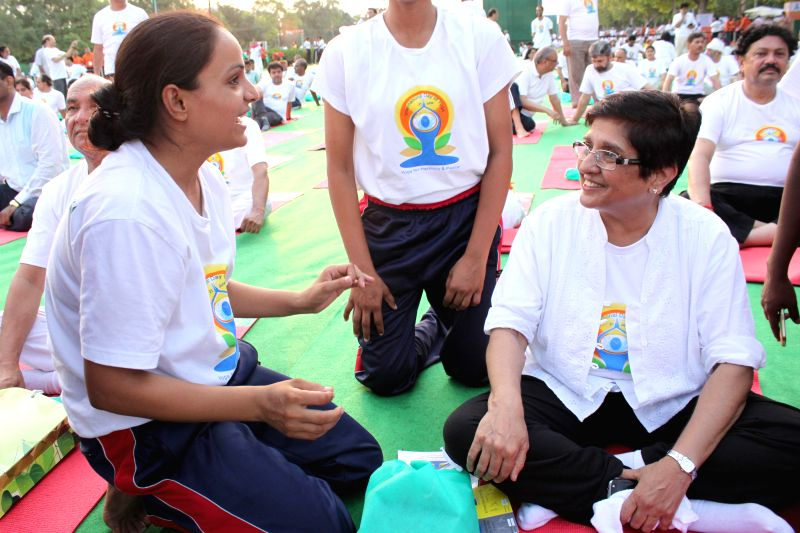 Social activist Kiron Bedi during the mass yoga demonstration at Rajpath on the occasion of International Yoga Day, in New Delhi on June 21, 2015. - Kiron Bedi