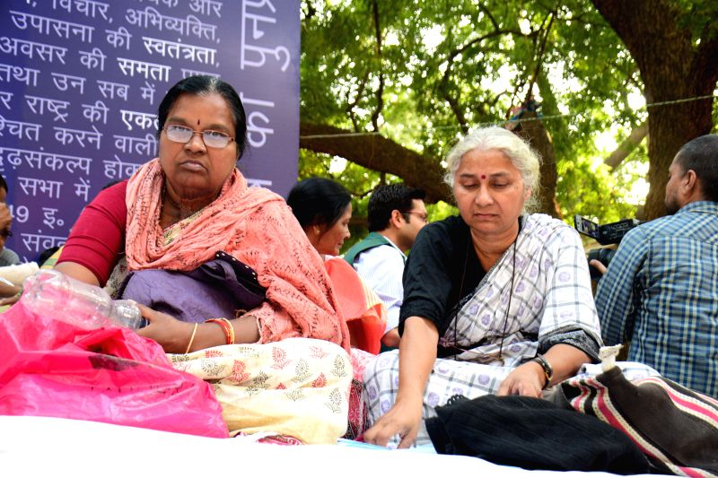 Social activist Medha Patkar participates in a demonstration at Jantar Mantar in New Delhi, on Dec 2, 2014.