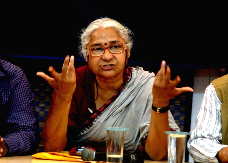 Social activist Medha Patkar addresses a press conference at Indian Women's Press Corps in New Delhi, on Feb 23, 2015.