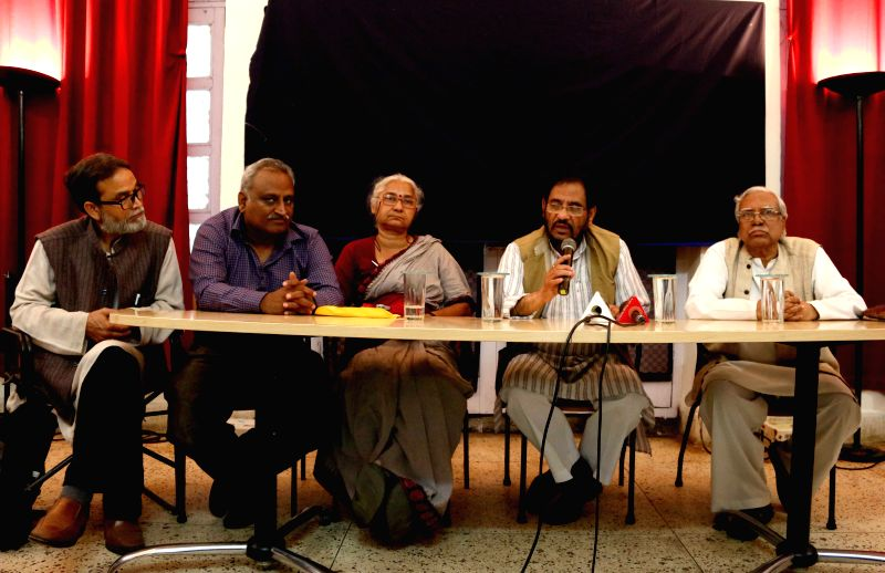 Social activist Medha Patkar and others during a press conference at Indian Women's Press Corps in New Delhi, on Feb 23, 2015.