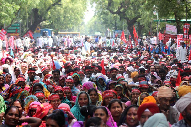 Social activist Medha Patkar during protest against the Land Acquisition Bill at Jantar Mantar in New Delhi on May 5, 2015.