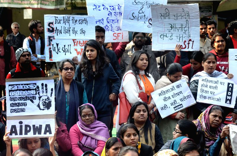 Social activists stage a demonstration to condemn the 2012 Nirbhaya gangrape in New Delhi, on Dec 16, 2014.