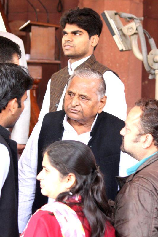 SP chief Mulayam Singh Yadav at the Parliament House in New Delhi, on Dec 5, 2014. - Mulayam Singh Yadav